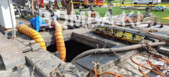Tiga maut terhidu gas di loji kumbahan di Pantai Dalam