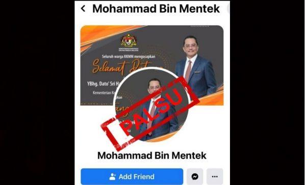 KKMM nasihati masyarakat tidak terpedaya akaun Facebook palsu Ketua Setiausahanya